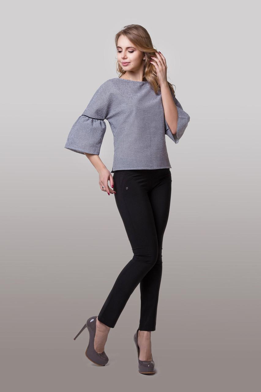 Молодежная блузка с вырезом лодочка и розклешоннимы рукавами 3/4 Размеры 42 44