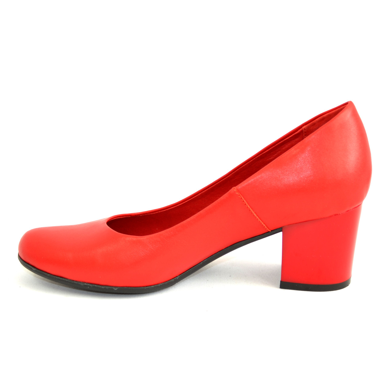 Женские красные кожаные туфли на невысоком устойчивом каблуке ... 9c876a00ade57
