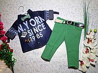 Костюм   для мальчика с джинс рубашка+джинсы+ бабочка  до 1,5 лет