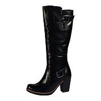 Сапоги женские из натуральной кожи черного цвета на устойчивом не высоком каблуке, М-67 NEW М-67