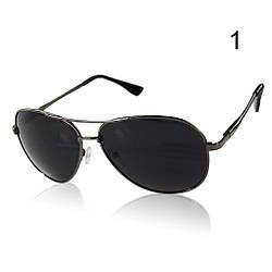 Солнцезащитные очки поляризационные с черными линзами в черной оправе Aviator
