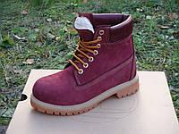 Зимние ботинки Timberland Red с мехом (тимберленд)