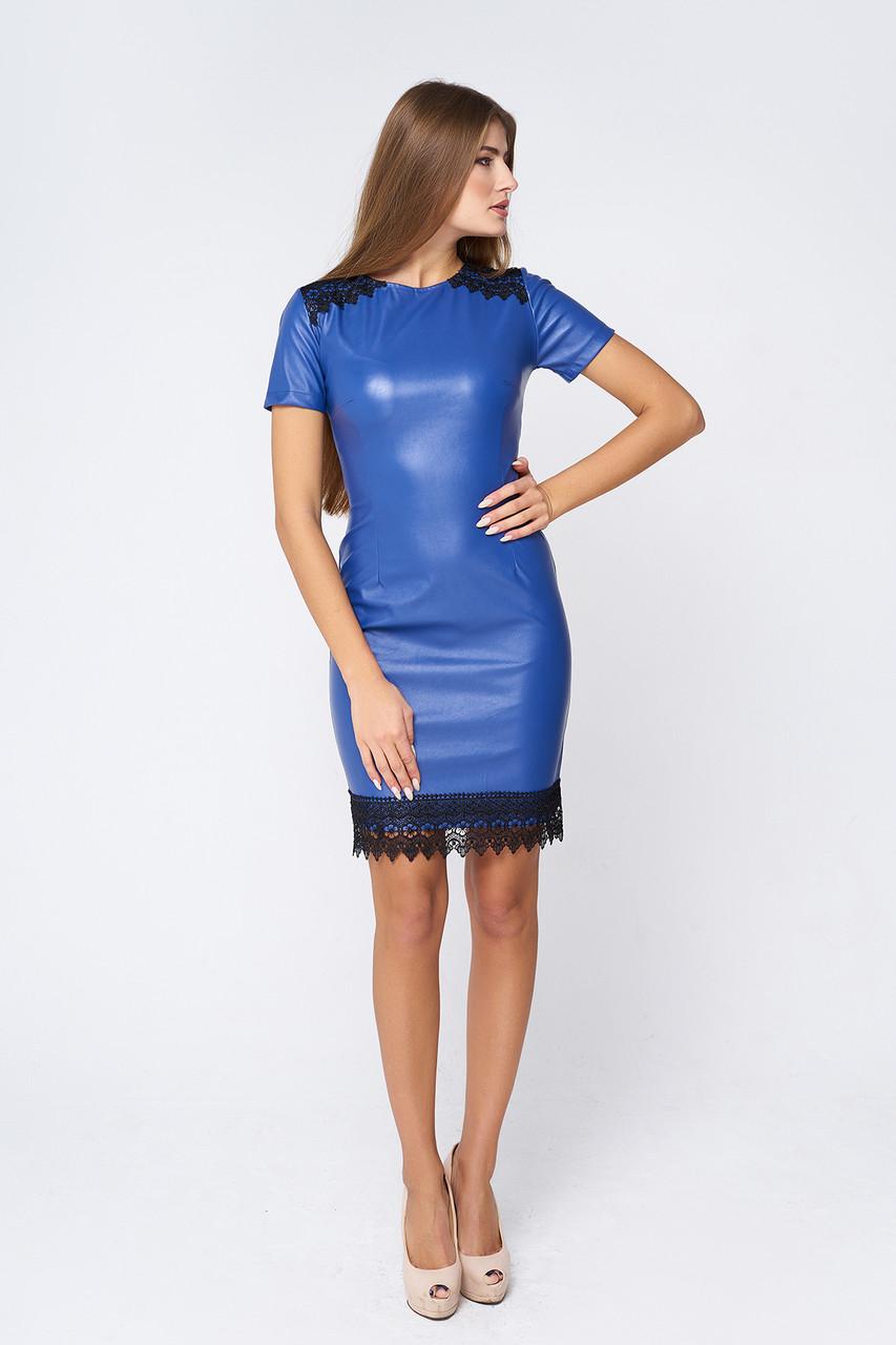 1670302e949 Стильное кожаное платье Лисиа синее - DS Moda - женская одежда оптом от  производителя в Харькове
