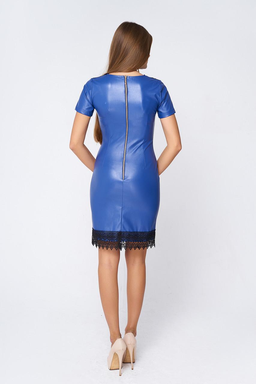 d708165f4e5 Стильное кожаное платье Лисиа синее