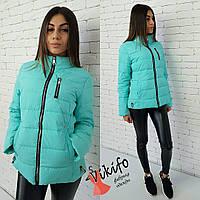 Короткая женская Курточка весна (мята, голубая, черная, желтая, красная)