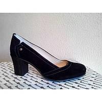 Туфли из натуральной замши черного цвета на устойчивом каблуке, Т-200 NEW Т-200зч