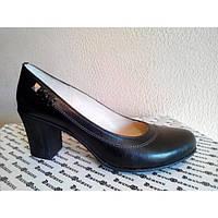 Туфли из натуральной кожи черного цвета на устойчивом каблуке, Т-64 NEW Т-64ч