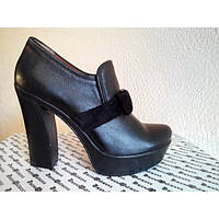 Туфли из натуральной кожи Т-40 черного цвета на каблуке. Туфли из натуральной кожи черного цвета весна-осень NEW Т-40ч