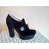 Туфли из натуральной замши Т-40 черного цвета на каблуке.  Туфли из натуральной замши черного цвета весна-осень NEW