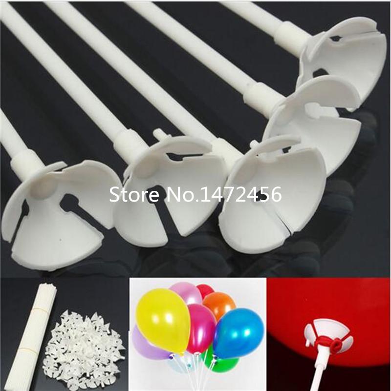 Палочки для воздушных шариков белые 30 см, держатели с насадкой, 100 шт.