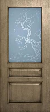 Двери Верона стекло с рисунком шпон натуральный