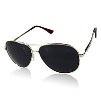 Солнцезащитные очки поляризационные с черными линзами в золотой оправе Aviator