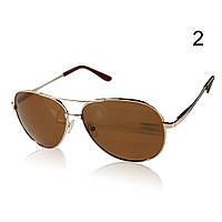 Солнцезащитные очки поляризационные с коричневыми линзами в золотой оправе Aviator