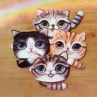 Детский кошелёчек кошелёк котёнок котик с хвостиком 3д рисунок на молнии рыжий