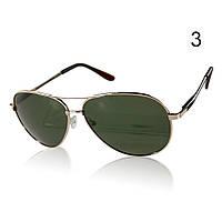 Солнцезащитные очки поляризационные с оливковыми линзами в золотой оправе Aviator