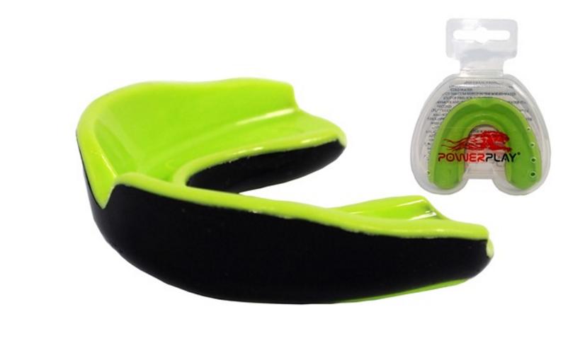 Капа боксерская Power Play  3314JR, салатово-черный/bright green black