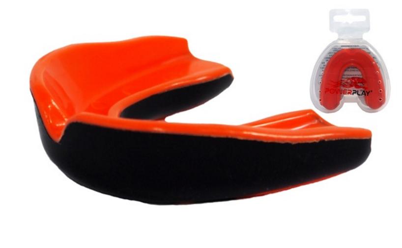 Капа боксерская Power Play  3315SR, оранжево-черный/orange black