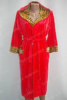 Велюровый халат с капюшоном, батал, на запах XL, XXL, XXXL красный