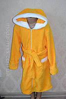 Желтый халат для девочки с ушками на капюшоне 7-8 9-10 11-12 лет