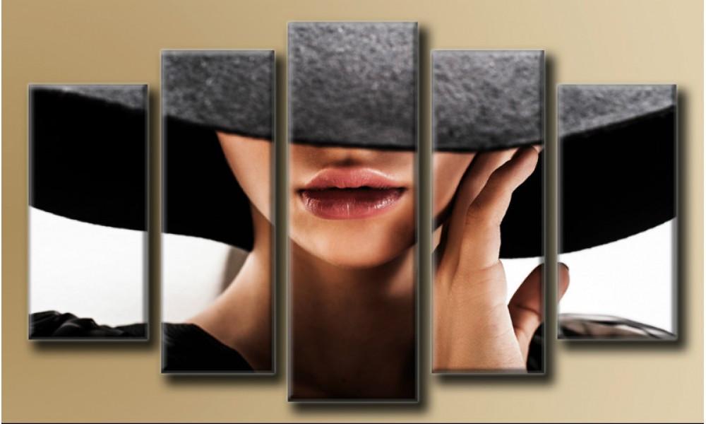 """Модульная картина на холсте """"Дама в шляпке"""" для интерьера"""