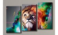 """Модульная картина на холсте """"Пламенный лев"""""""