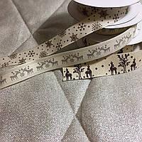 Стрічка новорічна  х/б з малюнком