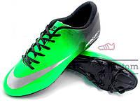 Бутсы Nike Mercurial\ Найк Меркуриал, зелено-черные, к11301