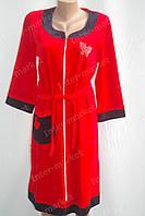 Велюровый халат батал, на замке XL, XXL, XXXL красный, фото 1