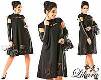 Стильное черное платье батал с выбитым рисунком. Арт-2095/21
