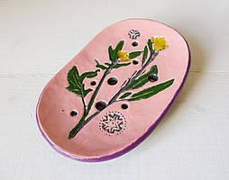 """Мыльница керамическая """"Прованс"""", розовая, 90х135мм"""