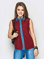 Рубашка женская Клетка 400-4, рубашка в клетку, женская летняя рубашка недорого, дропшиппинг по украине