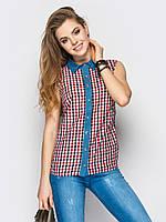 Рубашка женская Клетка 400-3, рубашка в клетку женская, женская летняя рубашка, дропшиппинг поставщик