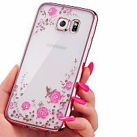 Чехол прозрачный силиконовый с цветами и камнями Сваровски для Samsung Galaxy S7 Edge