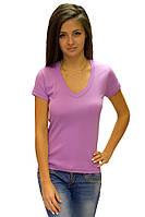 Женская футболка с коротким рукавом однотонная сиреневая с вырезом на лето хб трикотажная (Украина)