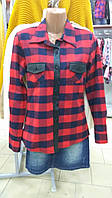 Рубашка байковая в клетку с кож вставками (38-44р)