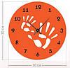 """Необычные настенные часы """"Отпечатки рук"""" (30x30 см) [Акрил, Открытые]"""