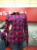 Рубашка красная клетка стрейч-котон