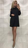 Женское яркое платье свободного кроя с длинным рукав по колено