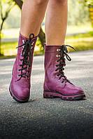 Ботинки в бордовой коже на шнурках на устойчивой подошве черного и бордового цвета коллекция осень-зима 2016-2017, Б-16077 Новинка!г.