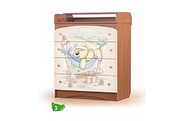 Детский комод с рисунком Мишка Фози Вальтер Орех темный