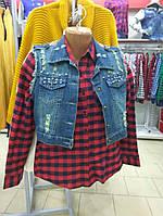Рубашка байковая в клетку с манжетом красная