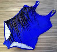 Купальник слитный большой размер синий с веточками 4-5хл 54р