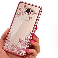 Золотистый розовый силиконовый чехол с цветами, бабочками и камушками Сваровски для Samsung Galaxy A7 (2016)