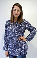 Синяя блуза в цветочный узор, большие размеры