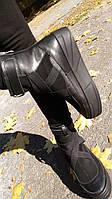 Эксклюзивные ботинки в  черной коже и замше с отделкой из черной эластичной ленты, Б-16075 Новинка! Б-16075