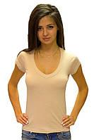 Женская футболка с коротким рукавом однотонная бежевая с вырезом на лето хб трикотажная (Украина) 42