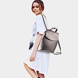 Рюкзак женский кожаный  с клапаном (бронзовый), фото 2
