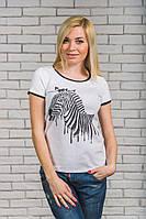 Женская  футболка с печатью Зебра белая
