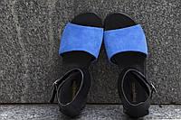 Босоножки из натуральной кожи черного цвета с синим электриком на низком ходу коллекция лето-весна 2016, С-602 NEW С-602