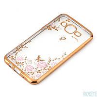 Золотистый силиконовый чехол с цветочными узорами и камушками Swarovski для Samsung Galaxy J7 2015, фото 1